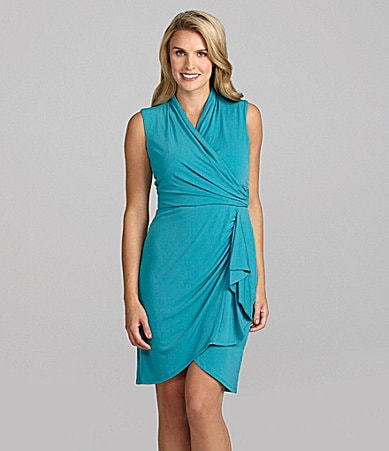 London Times Faux-Wrap Jersey Dress