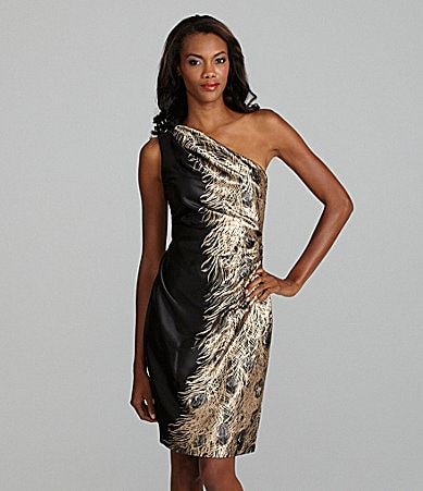 London Times Feather-Print Stretch Satin Dress