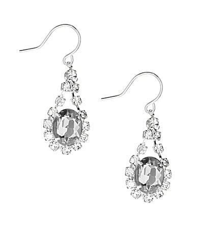 Cezanne Oval Rhinestone Drop Earrings