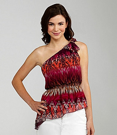 Soulmates Printed One-Shoulder Top