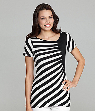 ECI Striped Asymmetric Neck Top