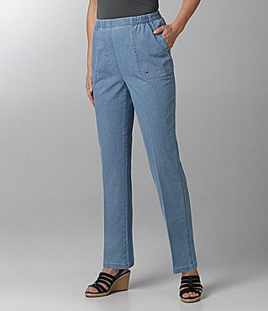 Allison Daley Petites Mock-Fly Pull-On Chambray Pants