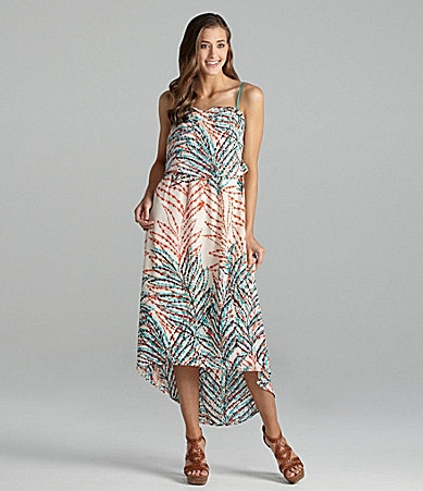 Collective Concepts Paintbrush-Print Hi-Low Maxi Dress