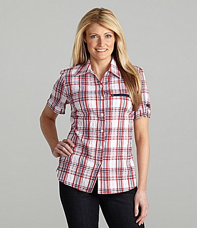 Allison Daley Petites Textured Plaid Campshirt