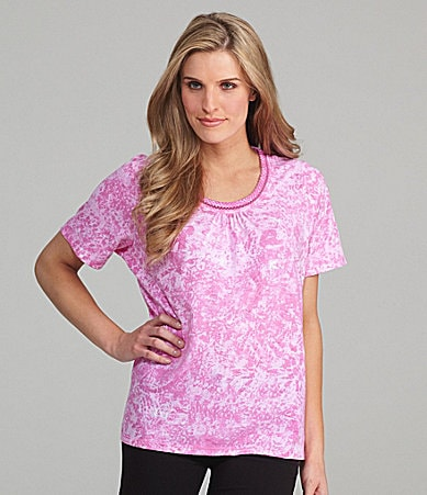 Allison Daley Petites Printed Jersey Scoopneck Top
