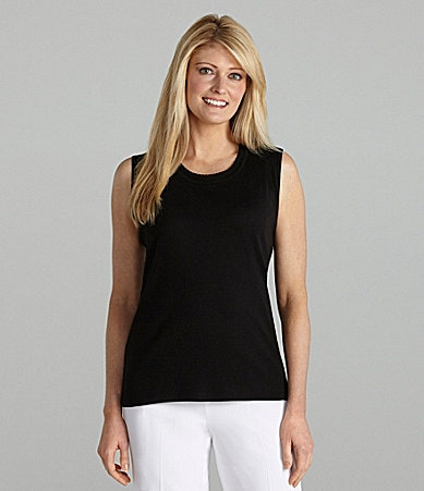 Allison Daley Crewneck Tank With Embroidered Trim
