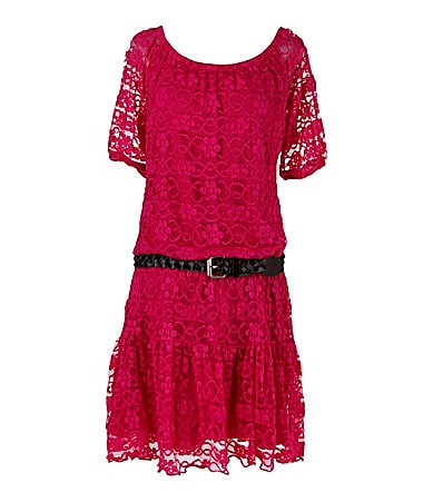 My Michelle Drop-Waist Crocheted Lace Dress