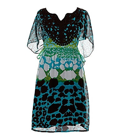 My Michelle 7-16 Printed Butterfly-Sleeve Dress