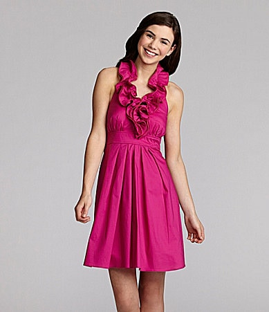 I.N. San Francisco Ruffle-Neck Halter Dress