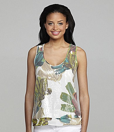 Kenneth Cole New York Floral-Print Sequin Tank