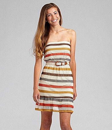 Jodi Kristopher Striped Crochet Dress
