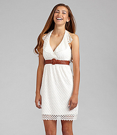 Jodi Kristopher Lace Halter Dress