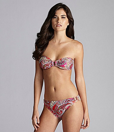 Gianni Bini Swim Paisley Ring Bandeau Top & Ring-Side Bottom