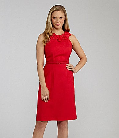 Jessica Howard Sleeveless Belted Sheath Dress