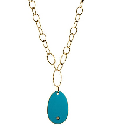 Kenneth Jay Lane Open Link Turquoise Pendant Necklace