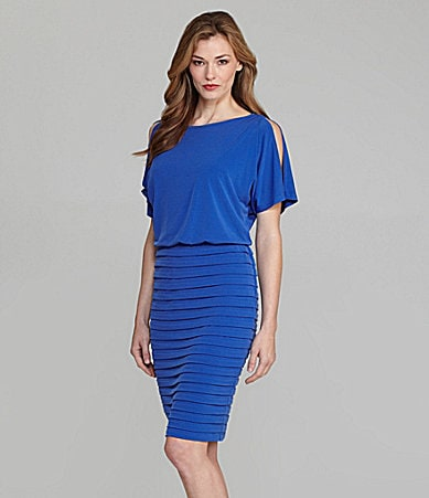 London Times Woman Matte Jersey Cold-Shoulder Dress