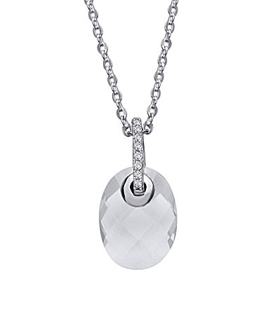 Crislu Micro Pave Checkerboard Gem Clear Pendant Necklace