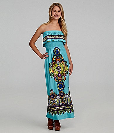 B. Darlin Strapless Printed Maxi Dress
