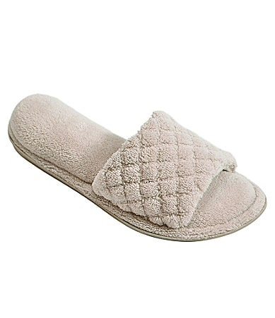Cabernet Quilted Microfiber Velour Open Toe Slippers