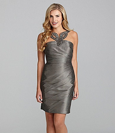 Adrianna Papell Beaded Faille Dress