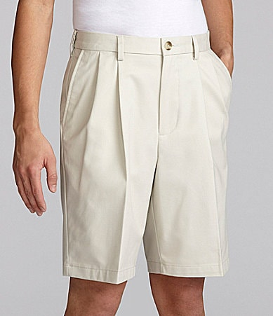 Roundtree & Yorke Big & Tall Easy Care Twill Pleated Expander Shorts