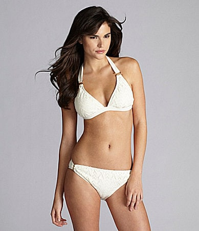 Gianni Bini Swim Crochet Ring Halter & Ring-Side Pant