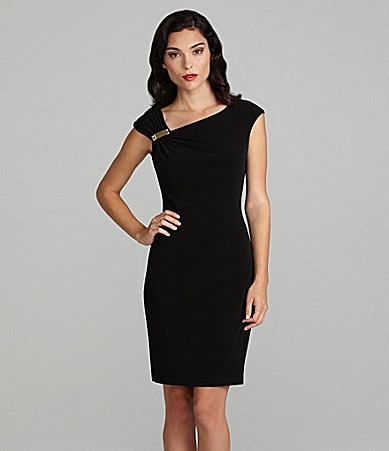 Calvin Klein Embellished Gathered-Shoulder Dress