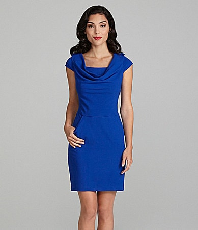 Calvin Klein Cowl Neck Lux Stretch Dress