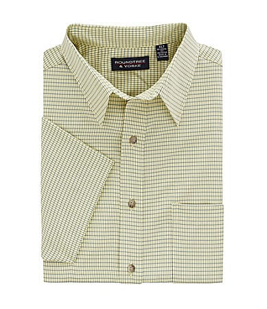 Roundtree & Yorke Big & Tall Polynostic Small Check Sportshirt