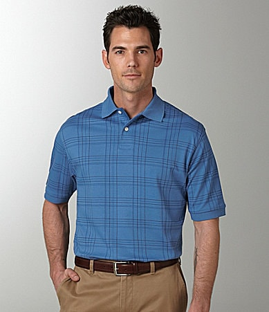 Roundtree & Yorke Big & Tall Printed Plaid Polo Shirt
