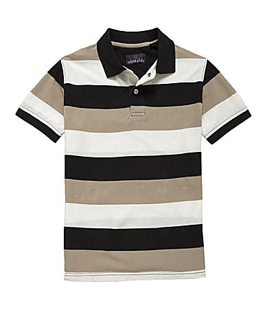 Class Club 8-20 Striped Pique Polo Shirt