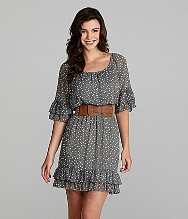 Jodi Kristopher Belted Chiffon Dress