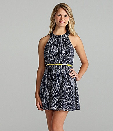 Teeze Me Printed Lattice-Back Dress