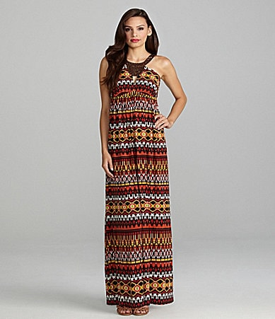 Max and Cleo Victoria Tribal Print Maxi Dress