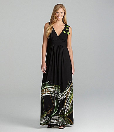Jessica Howard Sleeveless Border-Print Maxi Dress