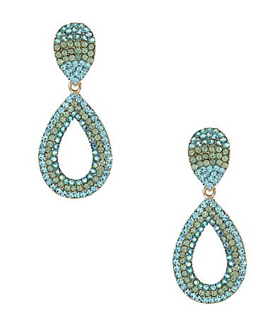 Natasha Accessories Crystal Open Teardrop Earrings