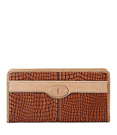 Fossil Maddox Embossed Zip Clutch