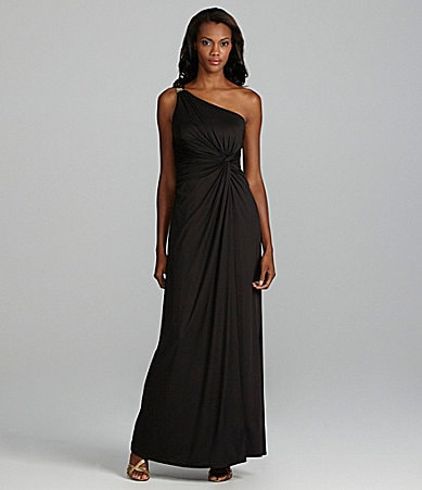 Max and Cleo Jenny One-Shoulder Jersey Gown