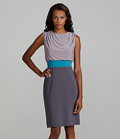 Adrianna Papell Colorblock Sleeveless Blouson Dress