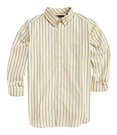 Roundtree & Yorke Casuals Long-Sleeve Striped Sportshirt