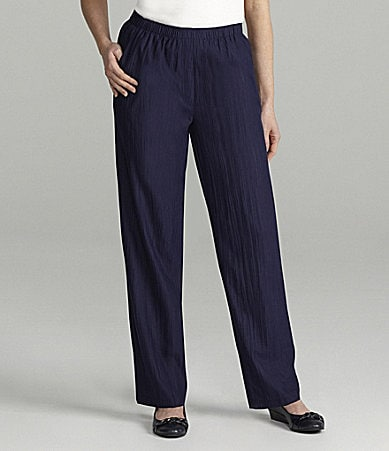 Allison Daley Petites Crinkle Microfiber Twill Faux-Fly Pants