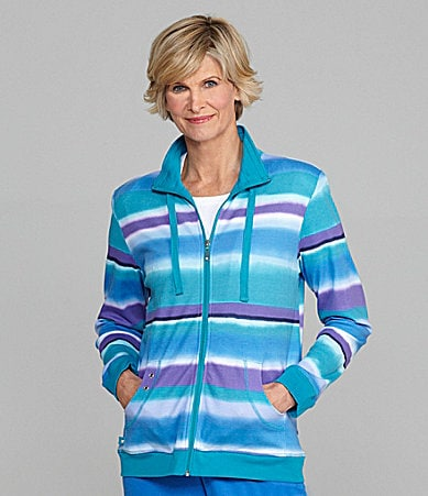 Allison Daley Striped Zip-Front Jacket