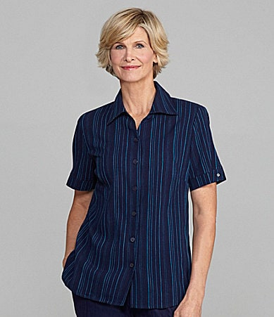 Allison Daley Crinkle Stripe Campshirt