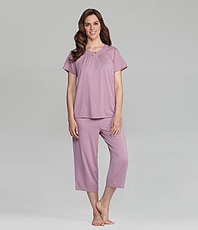Cabernet Mixed Tonal Cropped Pajamas