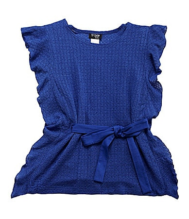 2 Hip by Wrapper 7-16 Flutter Sleeve Top