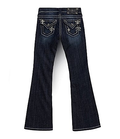 Miss Me Girls 7-16 Mini Fleur-de-Lis Embroidered Bootcut Jeans