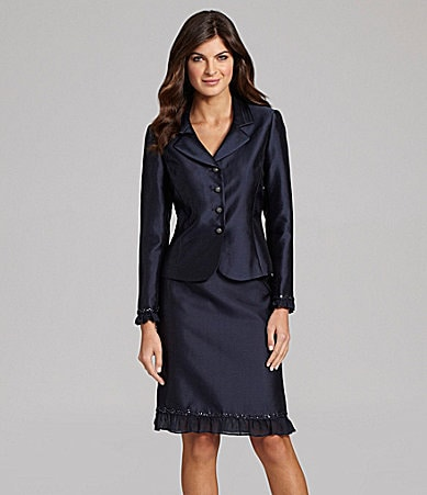 Tahari by ASL Pleated 2-Piece Skirted Suit