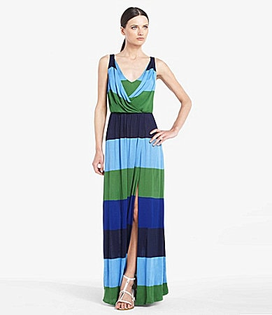 BCBGMAXAZRIA London Stripe Slit Maxi Dress