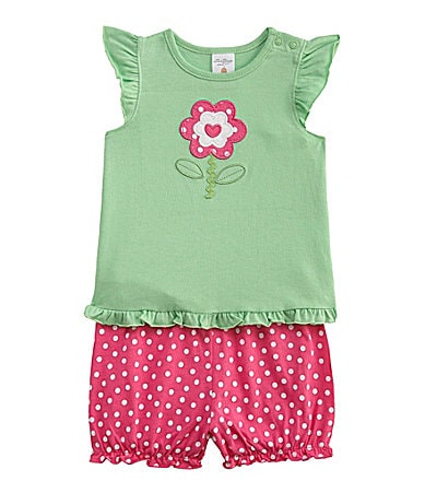 Starting Out Infant Flower Applique 2-Piece Short Set