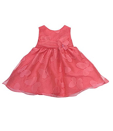Rare Editions Newborn Butterfly Burn-Out Print Dress